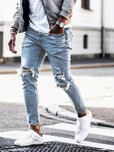 Wysokoelastyczne męskie dżinsy w rozmiarze Skinny Biker zniszczone postrzępione spodnie jeansowe zgrywanie spodnie dżinsowe hiphopowy sweter ołówkowe spodnie