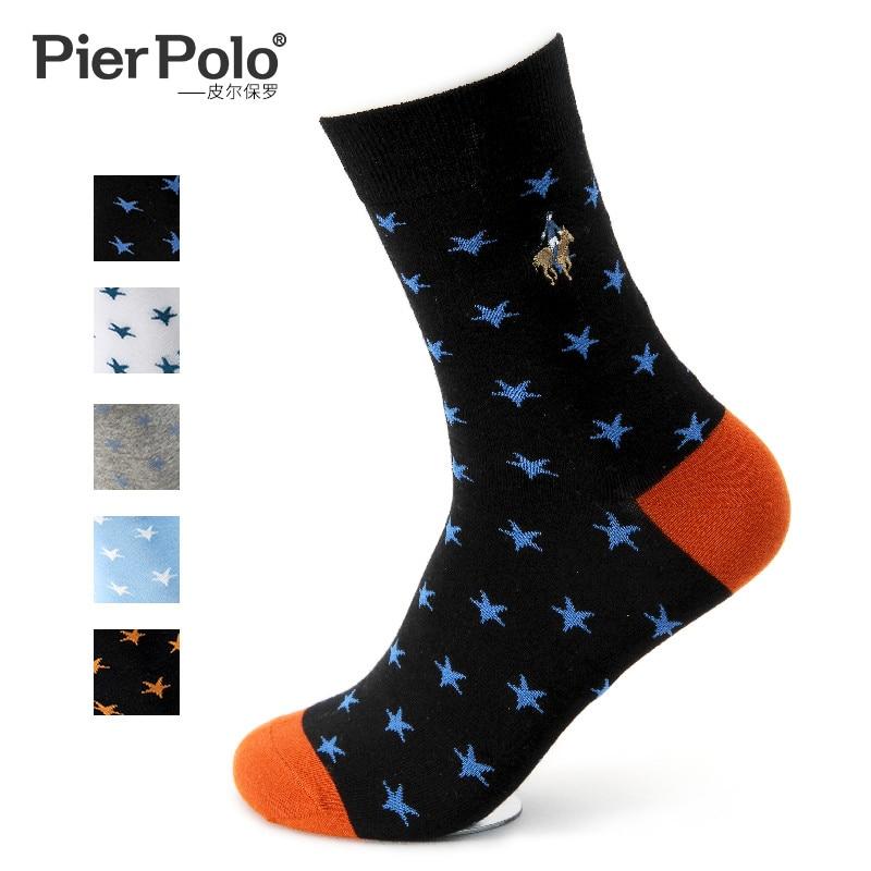 2019 pierpolo мужские носки в британском винтажном стиле, носки с вышивкой пятиконечной звезды, дышащие носки из чёсаного хлопка, 5 пар