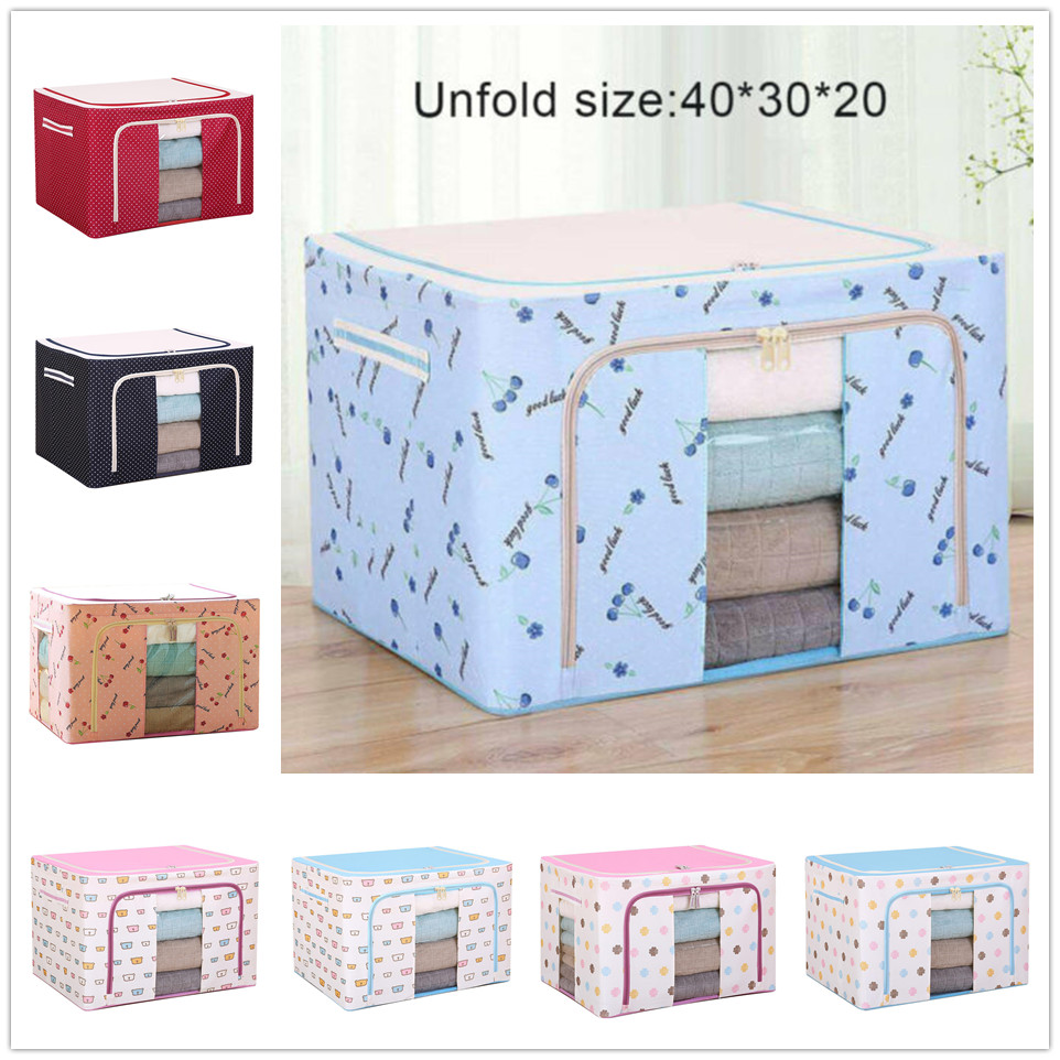 1pc Foldable Oxford Cloth Steel Frame Storage Box Household Clothes Toy Large-capacity Storage Bag Dust-proof Storage Box