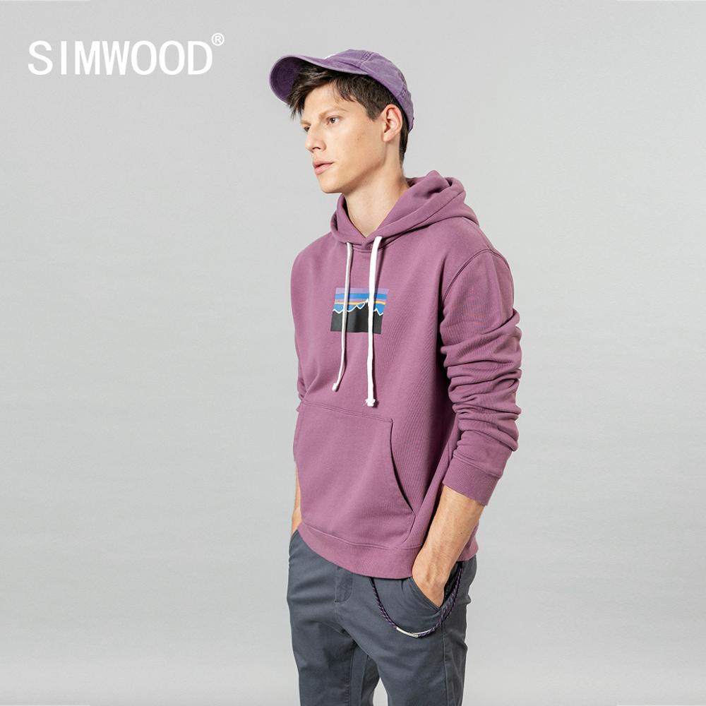 SIMWOOD 100% cotton hoodies men new print hooded anti-static anti-pilling jogger sweatshirt plus size quality male clothes