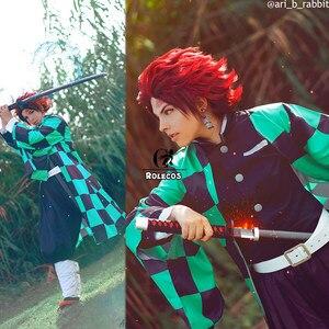 Image 4 - Rolecos Anime Demon Slayer Cosplay Kostuum Kamado Tanjirou Kimetsu Geen Yaiba Cosplay Kostuum Mannen Kimono Uniform Volledige Set