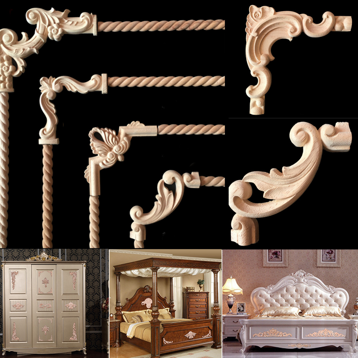 Wood Carved Corner Onlay Applique Frame Unpainted Furniture Decoration Wall Door Furniture Woodcarving Decorative Crafts 1pcs