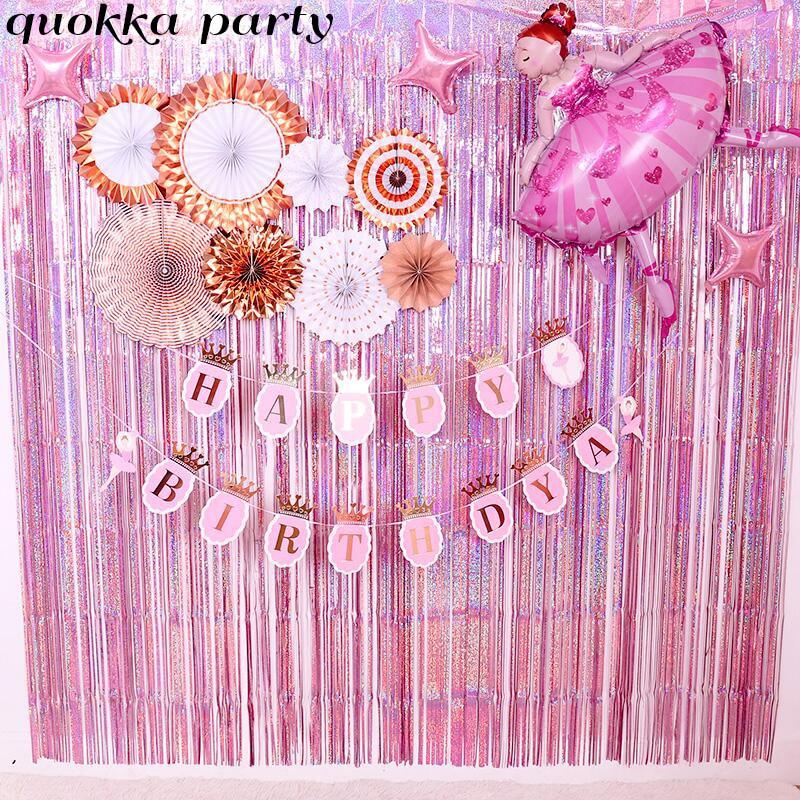 Фон для свадебной вечеринки занавеска розовая мишура бахрома занавески из фольги украшения для дня рождения мерцающий Блестящий Фон для фо...