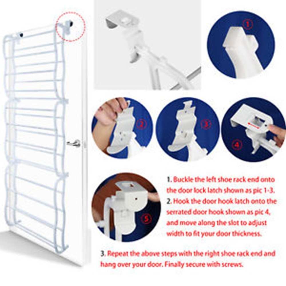 4 Layers Hanging Shoe Rack for 12 Pairs of Shoe Rack with Non Slip Door Pads to Prevent Scratching 3