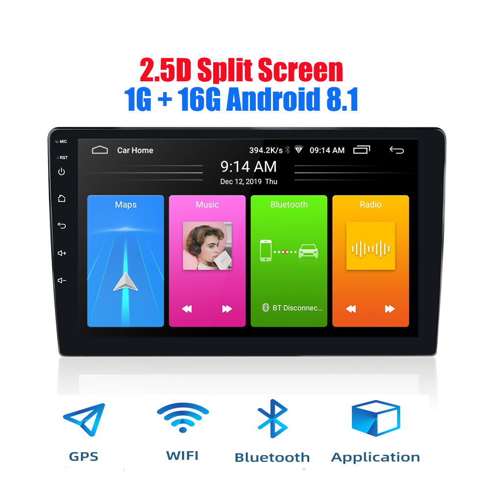 2 din android 2.5D car radio Android 8.1 universal Car Radio Player GPS NAVIGATION WIFI Bluetooth MP5 Player Split Screen 1+16 image