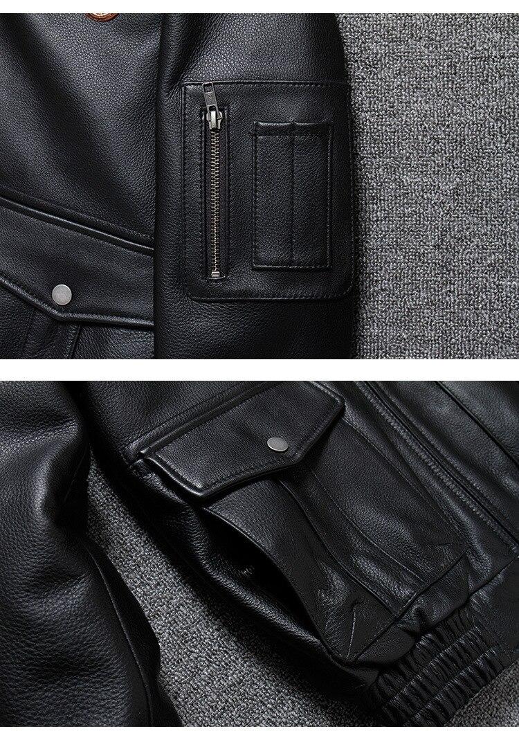 H0f95c4edb53e49c392a5b8adda10dc63u 2019 Vintage Men's G1 Air Force Pilot Jackets Genuine Leather Cowhide Jacket Plus Size 5XL Fur Collar Winter Coat for Male