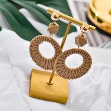 Handmade Boho Round Big Drop Earrings For Women Imitation Straw Weave Rattan Knit Vine Unique Dangle Fashion Jewelry