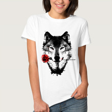 S-4XL Sweet Panda Wolf Print T-shirt Cartoon 2019 New Fashion T shirt for Women Tops Tees Curve Appeal Plus Size