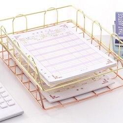 2 шт./компл. розовое золото стол Штабелируемый Органайзер бумажный лоток металлический провод двухуровневый лоток-Штабелируемый Лоток для ...