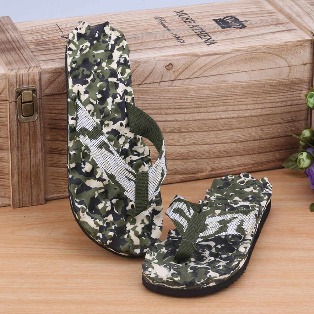 Zomer Camouflage Slippers Schoenen Sandalen Slipper Indoor Outdoor Leather Womens Heren Slippers Strand Schoenen Flip-Flops Slip # ZD