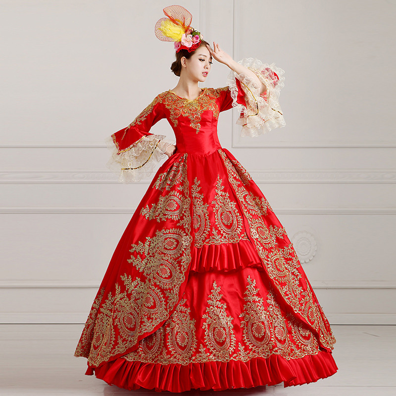 18th European Court Marie Antoinette Royall Women Long Evening Gown Dress Applique Party Elegant Prom Gothic Period Outfits