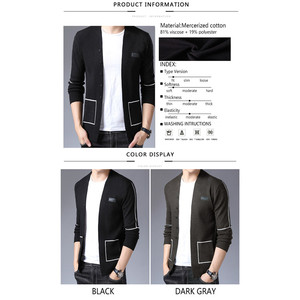 Image 5 - BROWON Brand Men Knitted Button Cardigans Sweaters New Casual Men Pullover V Neck Outerwear Clothing Black Grey Sweater Men
