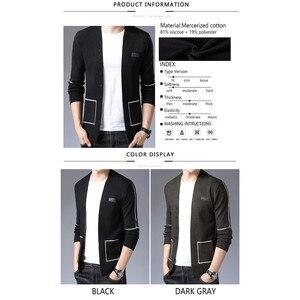 Image 5 - Бренд BROWON, мужские вязаные кардиганы на пуговицах, свитера, новый повседневный мужской пуловер, одежда с вырезом, одежда, черный, серый свитер для мужчин