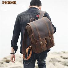 Pndme мужской рюкзак из воловьей кожи в стиле ретро большой