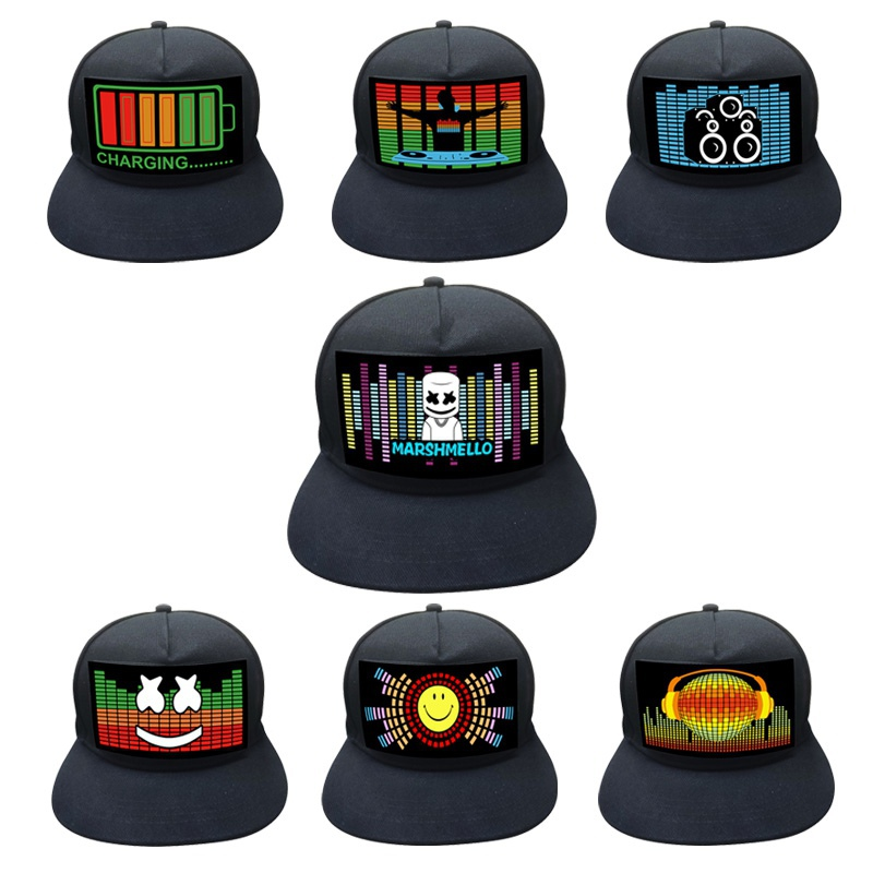 Men Hats Baseball-Cap Light-Up Sound-Activated Party Music Black Women Flashing Dj Led title=