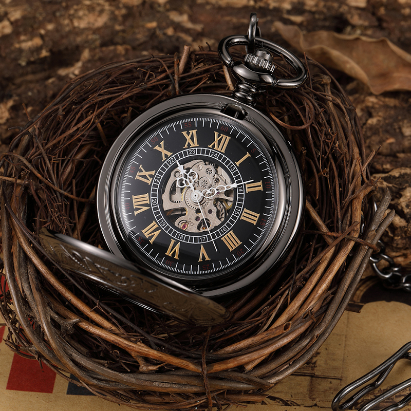Top Luxury Black Green Vintage Hand Wind Skeleton Mechanical Pocket Watch Men Steampunk Engraved Case  Pocket Fob Watch Gift