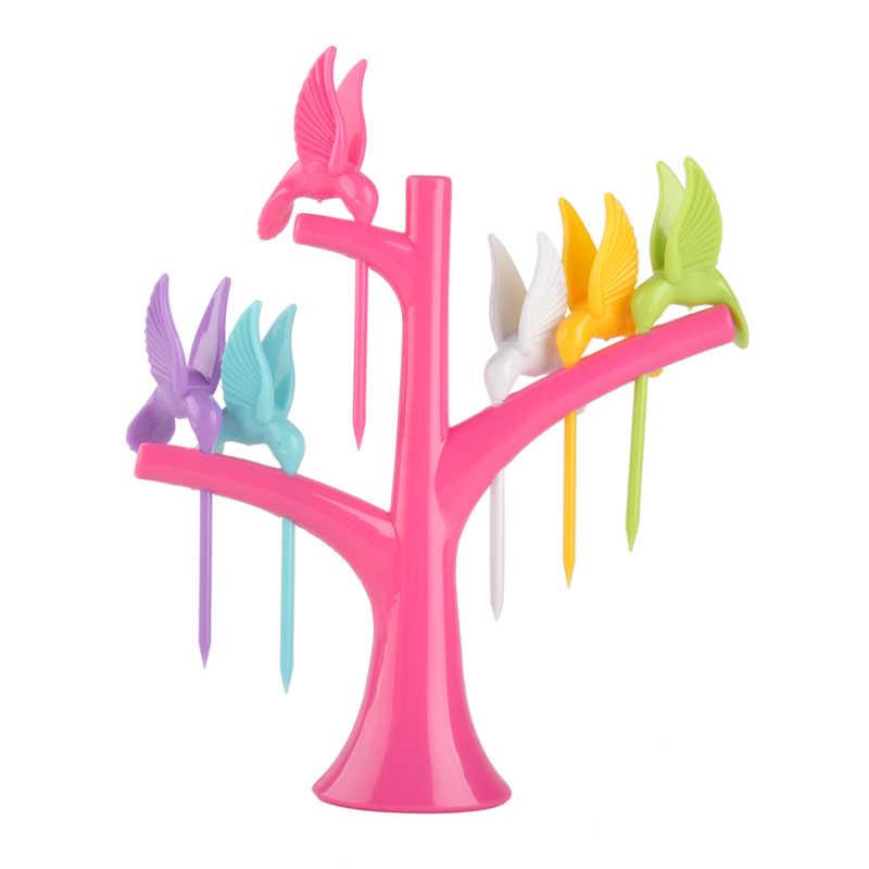 4 ชิ้น/ล็อตผลไม้ส้อมไม้จิ้มฟันชุดนกบนต้นไม้สร้างสรรค์แฟชั่นชุดอาหารเย็นชุดเครื่องมือเครื่องมือเครื่องครัว