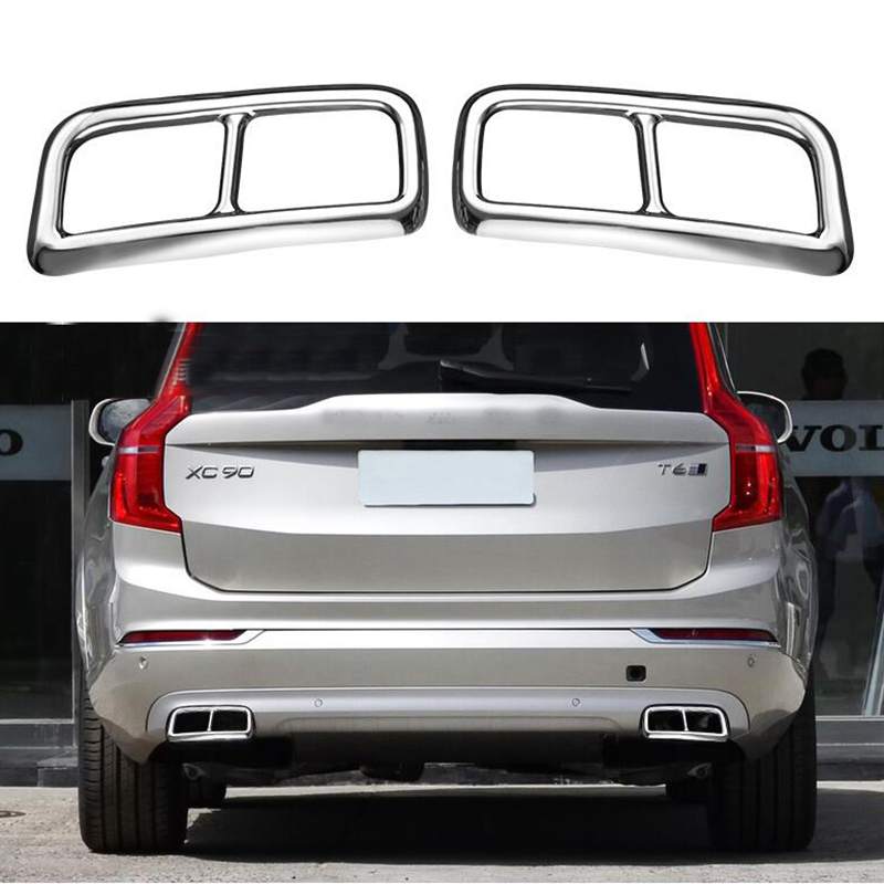 For <font><b>Volvo</b></font> <font><b>XC90</b></font> S90 XC60 2014-2019 Car Rear Dual Exhaust Muffler End Pipe Stickers Cover Trims <font><b>Accessories</b></font> Stainless Steel 2PCS image