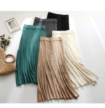 Winter Autumn 2019 Skirts Womens Knitting Wool Pleated Long Skirt Buttons High Waist Elastic Large Hem Saia Midi Skirts 5