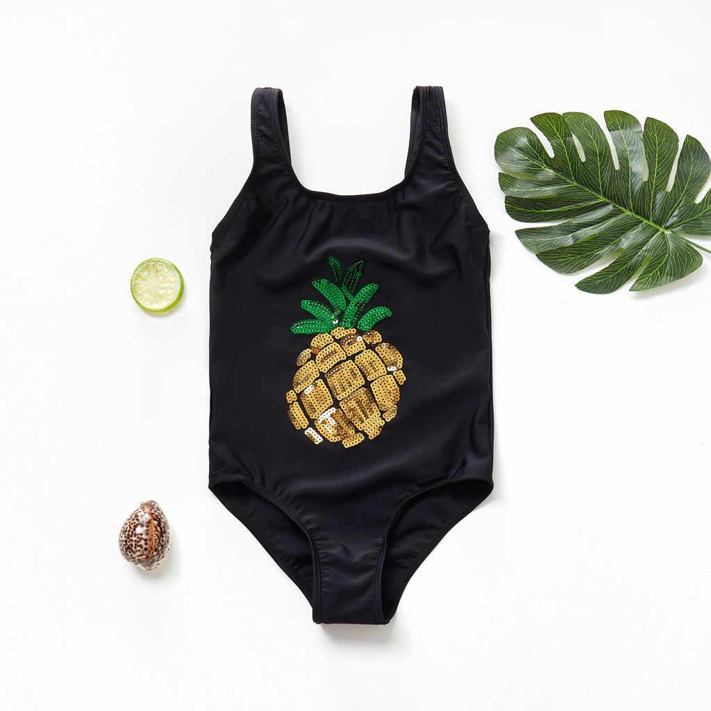 女の赤ちゃんワンピース水着夏 2020 幼児のスパンコールフリル漫画水着ボディスーツパイナップルプリント水着 A42