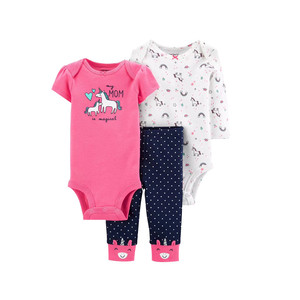 Clerance sale summer spring Baby clothing cotton bodysuits + pants 3 pc baby sets cotton baby girl clothes , infant roupas(China)