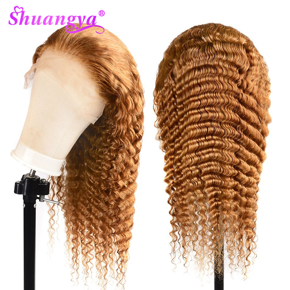 Brazilian Hair 13X6 Deep Wave Lace Front Human Hair Wigs Color 27 Human Hair Wigs Remy Hair Lace Front Wig Blonde Lace Front Wig