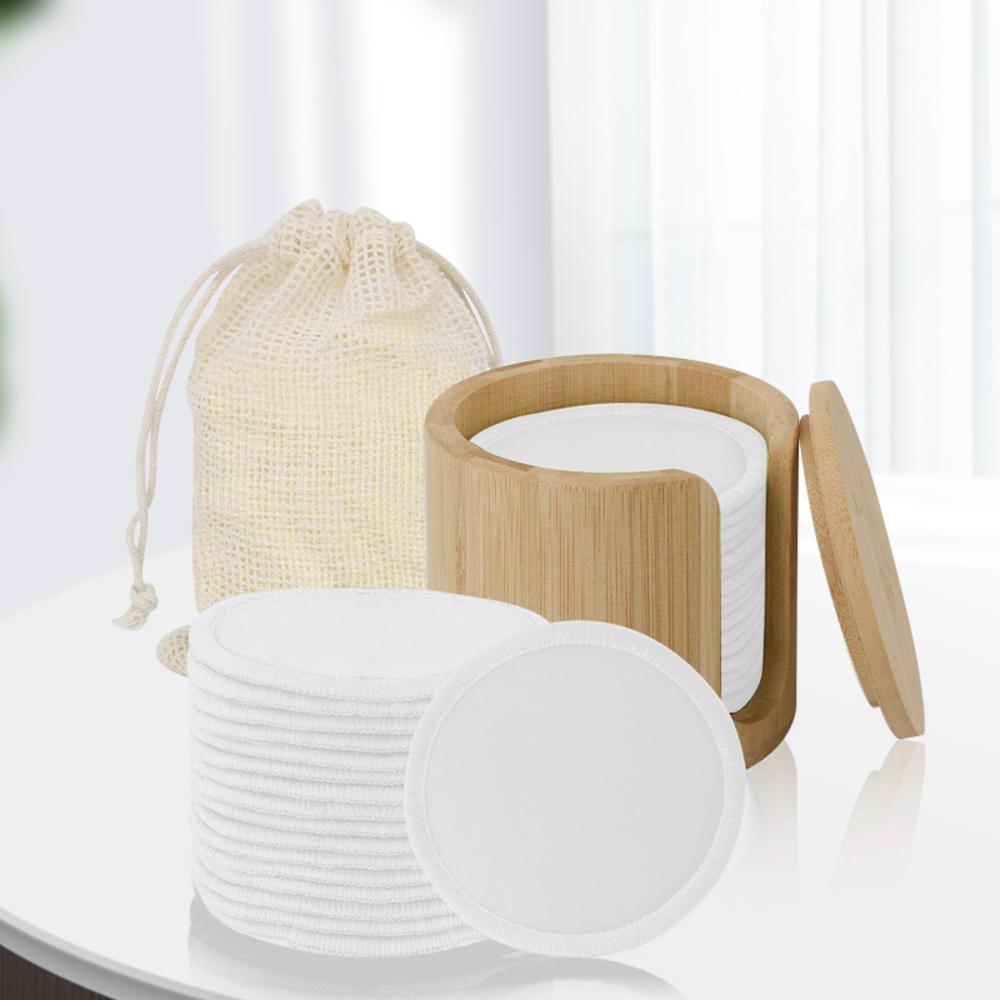 Многоразовые подушечки для снятия макияжа, набор из бамбукового волокна, хлопковые моющиеся подушечки, увлажняющий крем, инструмент для ух...