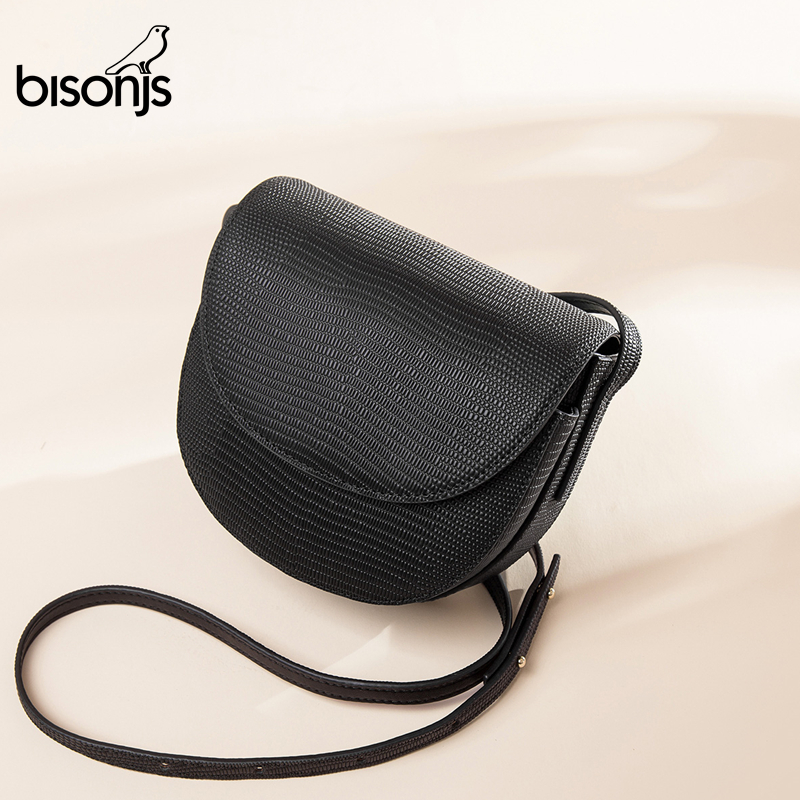 BISONJS Ladies Handbags Women Genuine Leather Bags Shoulder Bag Classic Saddle Crossbody Bag Messenger Bags For Women B1764