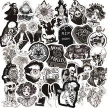 Três ratels 50 pçs preto e branco estilo gótico menina e crânio adesivos graffiti etiqueta para portátil bagagem estilo do carro guitarra