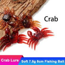 3pcs Artificial 7.8g 8cm Crab Fishing Lure 3D Simulation Soft Crabs Fish Bait Spoon Jig Silicone Tackle Black Minnow Accessories
