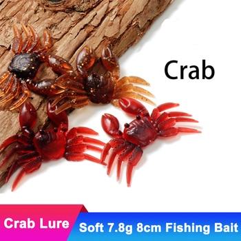 цена 3pcs Artificial 7.8g 8cm Crab Fishing Lure 3D Simulation Soft Crabs Fish Bait Spoon Jig Silicone Tackle Black Minnow Accessories онлайн в 2017 году