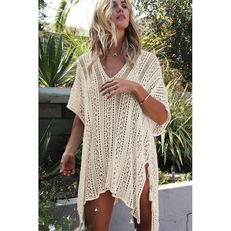 New Knitted Beach Cover Up Women Bikini Swimsuit Cover Up Hollow Out Beach Dress Tassel Tunics Bathing Suits Cover-Ups Beachwear 27