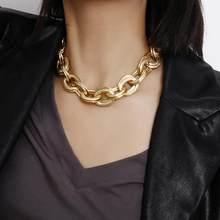 Hc punk miami cubana gargantilha colar colar steampunk pesado círculo de metal grosso colar de corrente masculino feminino gótico hip hop jóias t