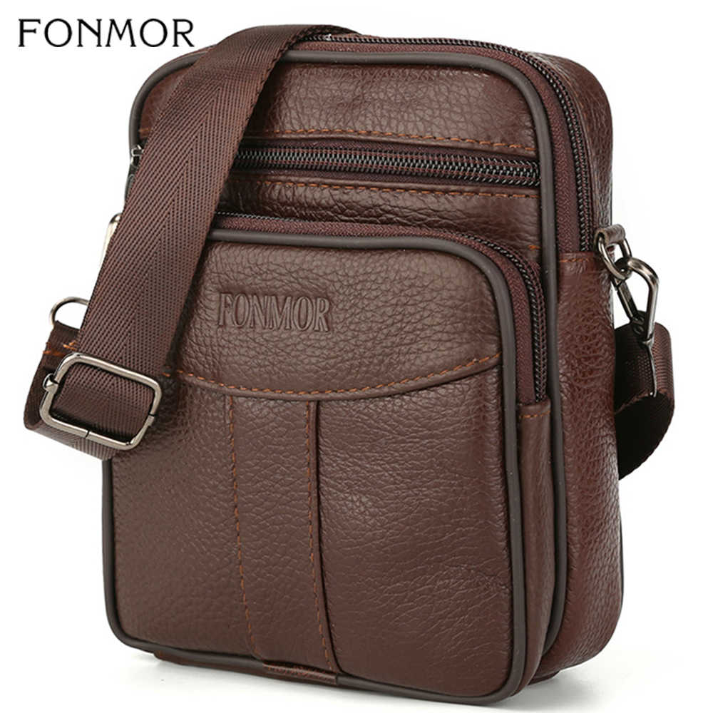 Fonmor Crossbody Shoulder Bags Genuine Leather Waist Pack Men's Business Cowhide Messenger Bag Zipper Design Casual Handbags HOT
