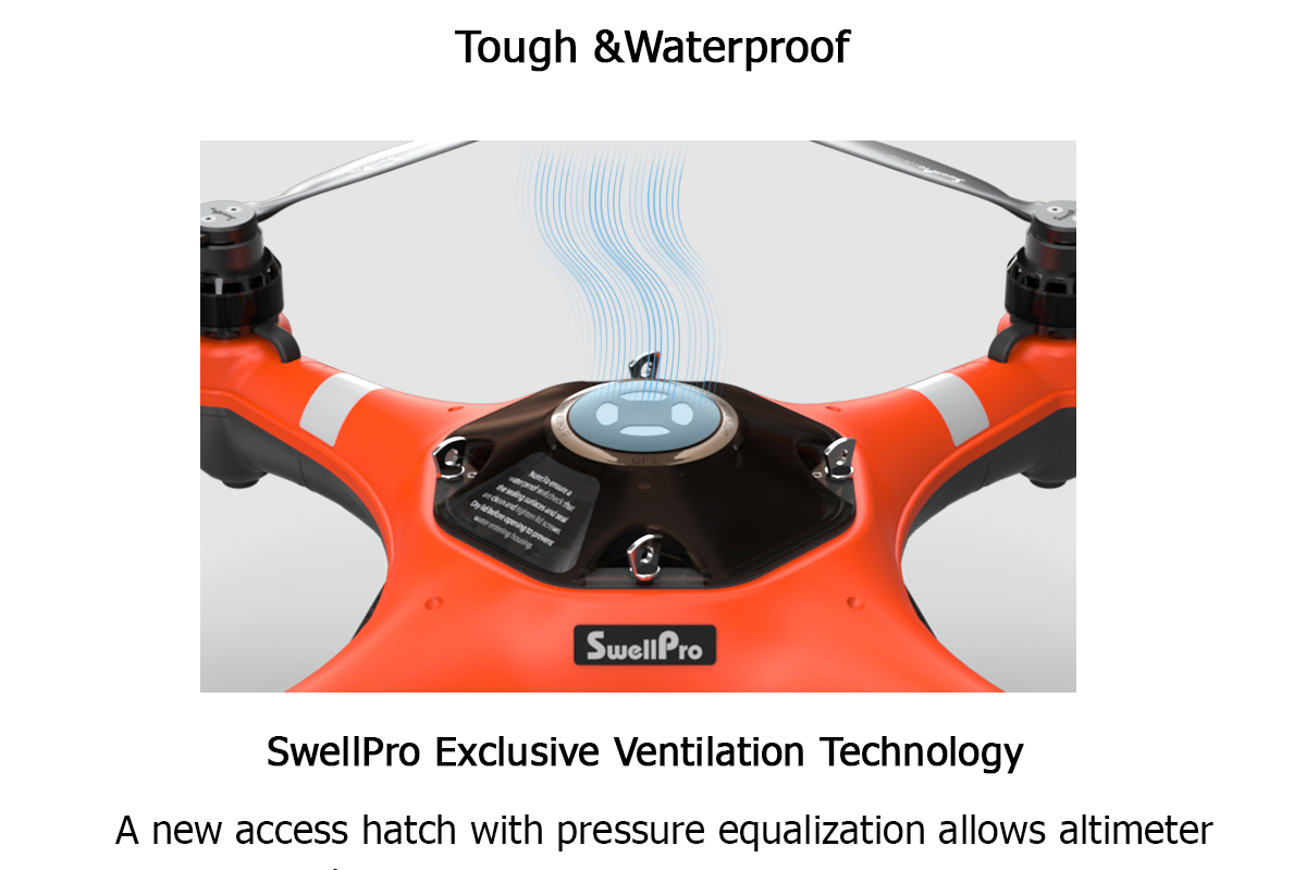 Fly the SplashDrone 3+ safely and smoothly with more confidence on water, in rain and snow