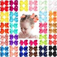 "50PCS 4.5"" Girls Hair Bows for girls Bulk Bows Alligator Hair Clips for Baby Girls Toddler Kids 25 Colors in Pairs"