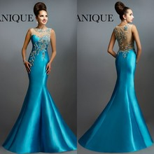 Long Evening gown 2018 New Arrival Formal Party Elegant Sheer Neck Back Mermaid Beaded Sleeveless