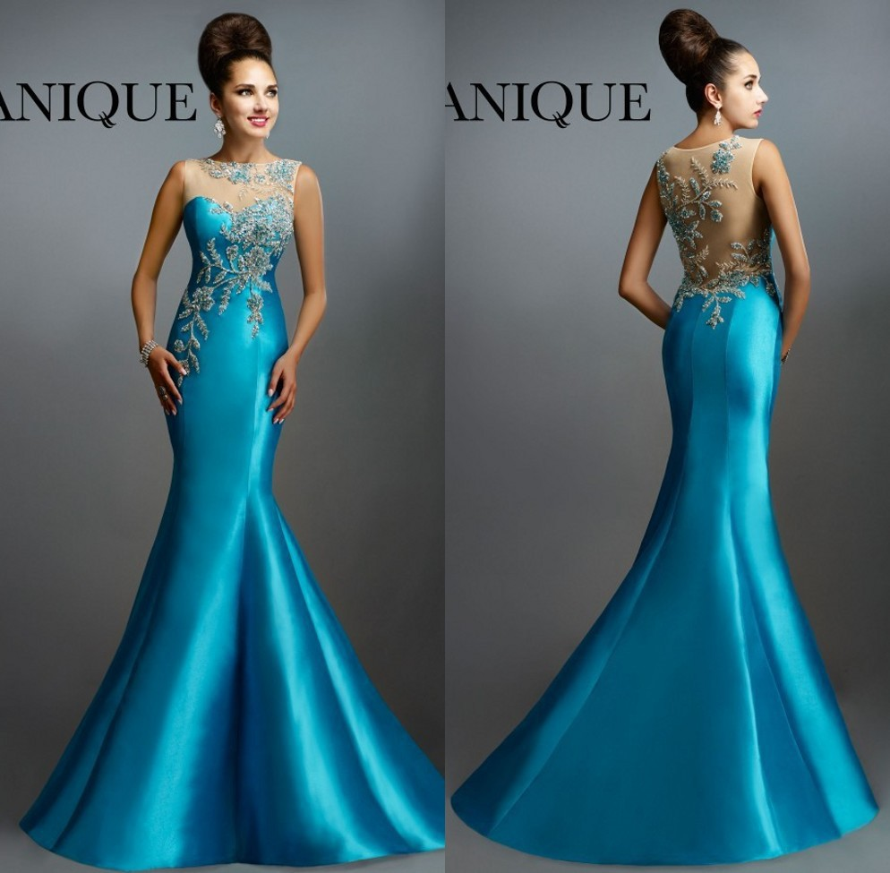 Long Evening Gown 2018 New Arrival Formal Party Elegant Sheer Neck Back Mermaid Beaded Sleeveless Mother Of The Bride Dresses