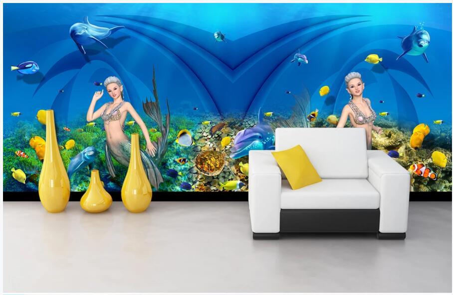 WDBH personnalisé photo 3d papier peint monde sous-marin sirène dauphin tv fond salon 3d peintures murales papier peint pour murs 3 d