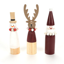 Christmas decorations for home wooden snowman Santa Claus reindeer dolls mini ornaments Xmas 2019 new year party diy gifts(China)