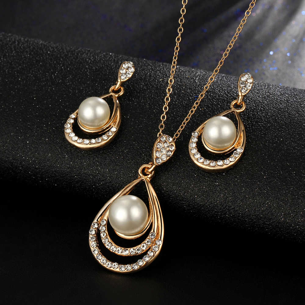 Pearl Jewelry Sets Necklace Earrings Waterdrop Pearl Sets For Women Party Jewelry Wedding Jewlery Christmas Gift