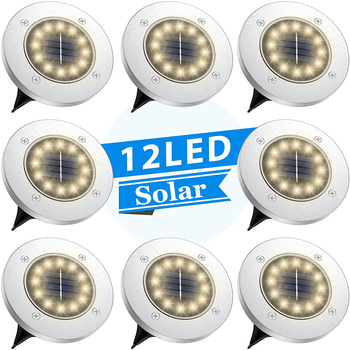 цена на Solar Disk Lights 12 LED Solar Ground Lights Outdoor Waterproof Stainless Steel in Ground Solar Lights for Walkway Pathway Lawn