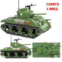 Military American Sherman M4A1 Tank Building Blocks Compatible Legoings World War II Army Weapons Technic Bricks Toys Child Gift