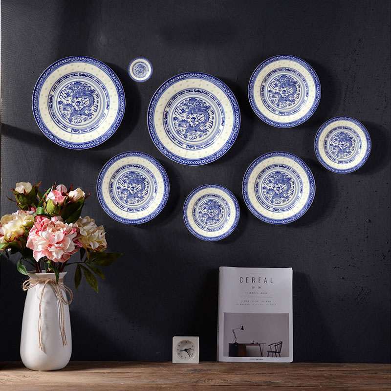 Chinese Restaurant Blue And White Porcelain Home Decorative Ceramics Wall Decoration Dish Hanging Plate Best Sale A7985 Cicig