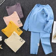 Underwear Long-John Girls Spring for Kids Suit Pajamas Velvet Long-Sleeved Thickened