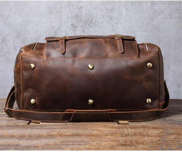 PNDME vintage large capacity genuine leather travel bag natural crazy horse cowhide handbag duffel bag real leather luggage bag 5