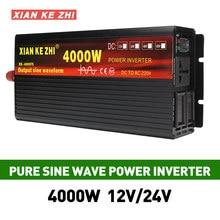 Auto Inverter 12V/24V 220V 3000/4000W Spannung transformator Reine Sinus Welle Power Inverter DC12V zu AC 220V Konverter + 2 Led-anzeige