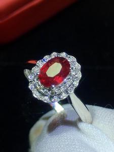 Image 4 - Jóias finas puro 18 k ouro branco real natural pombo sangue vermelho rubi 0.98ct diamantes jóias anéis femininos para mulheres anel fino