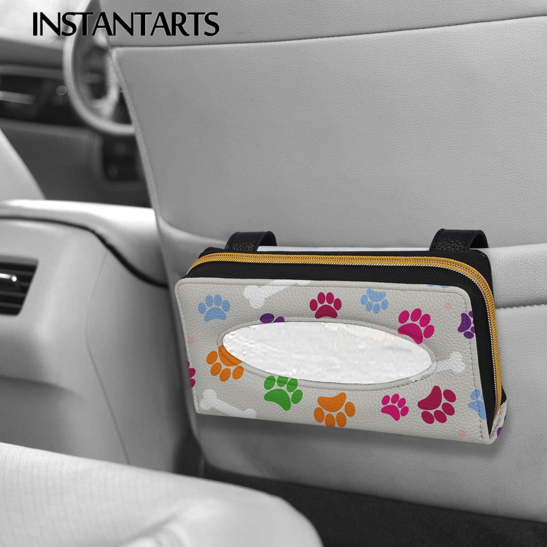 INSTANTARTS Lovely Dog Paw Design Easy to Install Car Protector Tissue Box Paper Car Sun Visor Durable Car Sun Visor Tissue Box