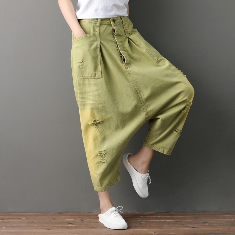 2020 New Harajuka Womens Sweeping Cross Harem Wash Denim Pants Hole Ripped Vintage Loose Fit Female Trousers Fashion Streetwear